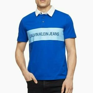 CALVIN KLEIN AUTHENTIC MEN'S BLUE POLO RUGBY SHIRT